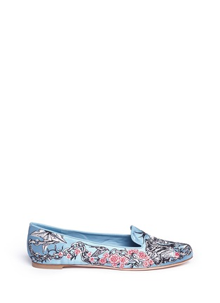 Main View - Click To Enlarge - Alexander McQueen - Poppy skull embroidery Duchesse satin flats