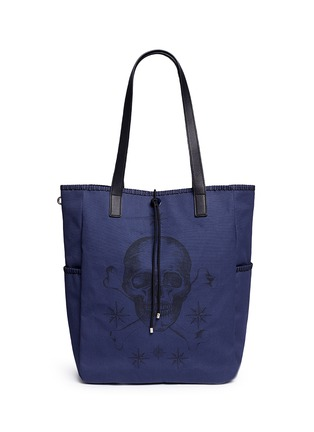 Main View - Click To Enlarge - Alexander McQueen - Skull tattoo print canvas tote bag