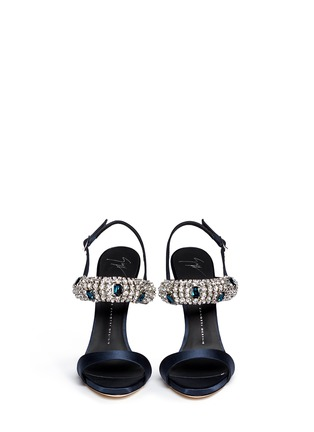 Figure View - Click To Enlarge - Giuseppe Zanotti Design - 'Coline' rhinestone band satin sandals
