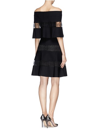 Back View - Click To Enlarge - VALENTINO - Floral stripe insert ponte knit dress