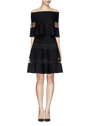 Main View - Click To Enlarge - VALENTINO - Floral stripe insert ponte knit dress