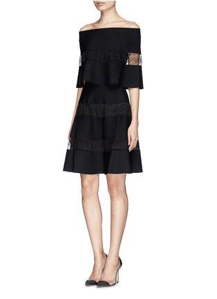 Figure View - Click To Enlarge - VALENTINO - Floral stripe insert ponte knit dress