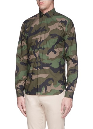 Front View - Click To Enlarge - Valentino - Camouflage print cotton poplin shirt