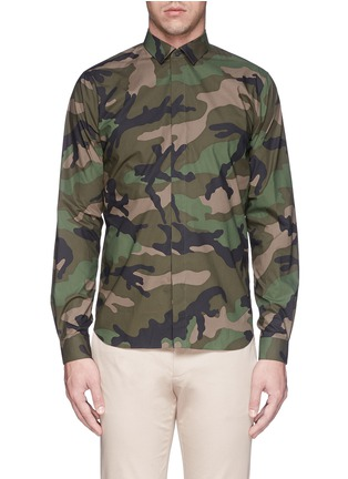 Main View - Click To Enlarge - Valentino - Camouflage print cotton poplin shirt