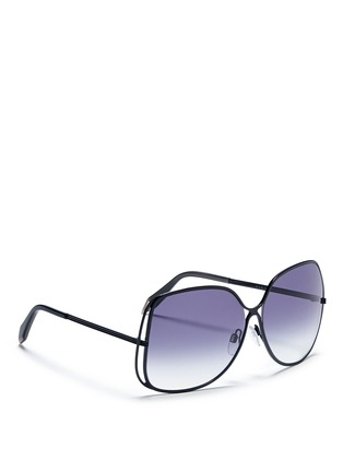 Figure View - Click To Enlarge - Victoria Beckham - Halo frame oversize metal sunglasses