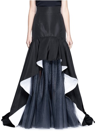 Main View - Click To Enlarge - Oscar de la Renta - Tulle insert ruffle silk faille skirt