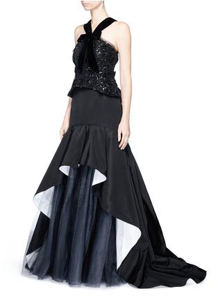 Figure View - Click To Enlarge - Oscar de la Renta - Tulle insert ruffle silk faille skirt