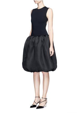 Front View - Click To Enlarge - Oscar de la Renta - Strappy back Milano knit silk combo dress