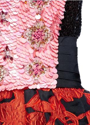 Detail View - Click To Enlarge - Oscar de la Renta - Floral embellished bodice fil coupé strapless gown