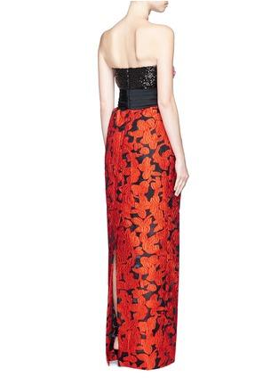 Back View - Click To Enlarge - Oscar de la Renta - Floral embellished bodice fil coupé strapless gown