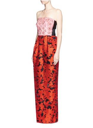 Front View - Click To Enlarge - Oscar de la Renta - Floral embellished bodice fil coupé strapless gown