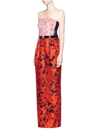 Figure View - Click To Enlarge - Oscar de la Renta - Floral embellished bodice fil coupé strapless gown