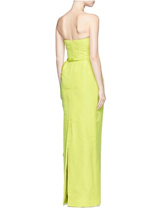 Back View - Click To Enlarge - OSCAR DE LA RENTA - Organza floral embroidery silk belted strapless gown