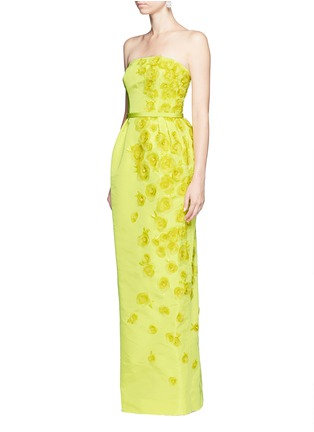 Figure View - Click To Enlarge - Oscar de la Renta - Organza floral embroidery silk belted strapless gown