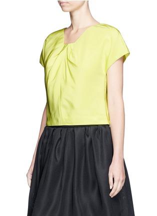 Front View - Click To Enlarge - OSCAR DE LA RENTA - Pleat squared neck silk twill top