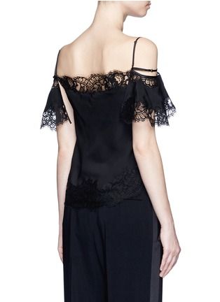 Back View - Click To Enlarge - GIVENCHY - Floral lace trim silk cold shoulder top