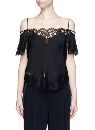Main View - Click To Enlarge - GIVENCHY - Floral lace trim silk cold shoulder top