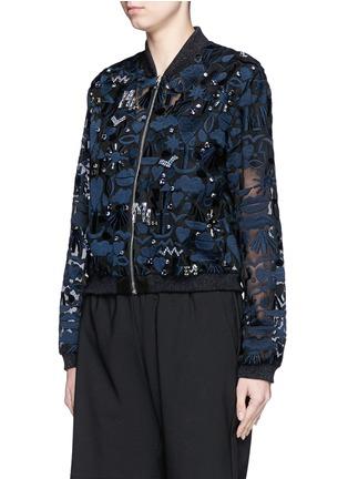 Front View - Click To Enlarge - MARKUS LUPFER - 'Stencil Cut' embellished Charlotte bomber jacket