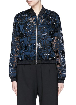 Main View - Click To Enlarge - MARKUS LUPFER - 'Stencil Cut' embellished Charlotte bomber jacket