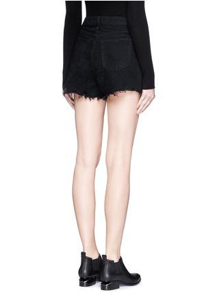 Back View - Click To Enlarge - ALEXANDER WANG - 'Bite' frayed cuff denim shorts