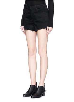 Front View - Click To Enlarge - ALEXANDER WANG - 'Bite' frayed cuff denim shorts