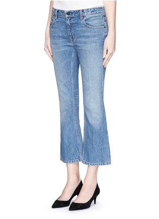 Front View - Click To Enlarge - T By Alexander Wang - 'Trap' light wash crop flare jeans