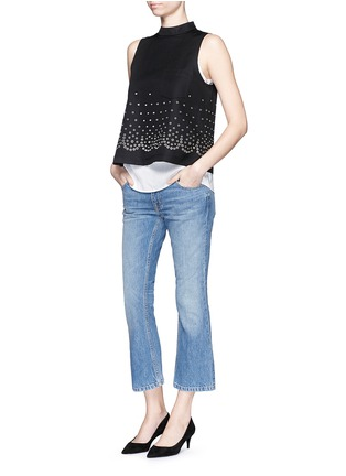 Figure View - Click To Enlarge - T By Alexander Wang - 'Trap' light wash crop flare jeans