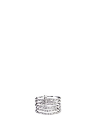 Main View - Click To Enlarge - Messika - 'Gatsby 5 Rangs' diamond 18k white gold ring