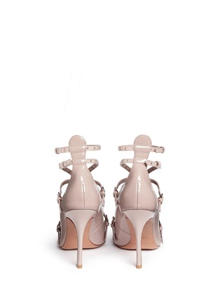 Back View - Click To Enlarge - Valentino - 'Love Latch' caged patent leather pumps