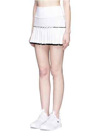 Front View - Click To Enlarge - MONREAL - Lasercut pleat foldable waist skirt
