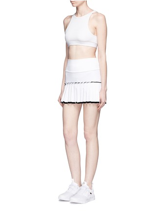 Figure View - Click To Enlarge - MONREAL - Lasercut pleat foldable waist skirt