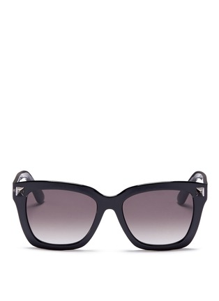Main View - Click To Enlarge - Valentino - 'Rockstud' acetate square sunglasses
