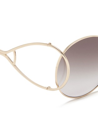 Detail View - Click To Enlarge - Chloé - 'Jackson' open teardrop temple metal round sunglasses