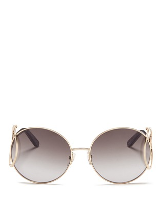 Main View - Click To Enlarge - Chloé - 'Jackson' open teardrop temple metal round sunglasses