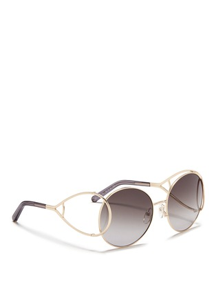 Figure View - Click To Enlarge - Chloé - 'Jackson' open teardrop temple metal round sunglasses