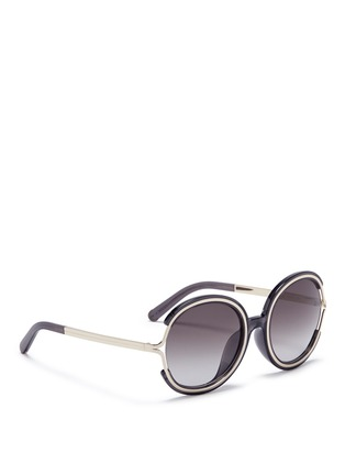 Figure View - Click To Enlarge - Chloé - 'Jayme' metal temple round resin sunglasses