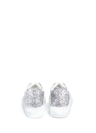 Back View - Click To Enlarge - Pedder Red - 'Lory' metallic glitter heel leather sneakers