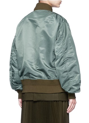Back View - Click To Enlarge - Sacai - Double layer flannel and nylon bomber jacket