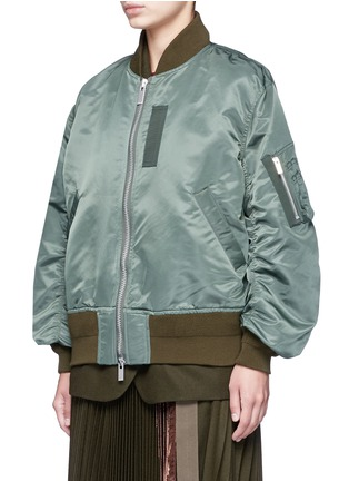 Front View - Click To Enlarge - Sacai - Double layer flannel and nylon bomber jacket