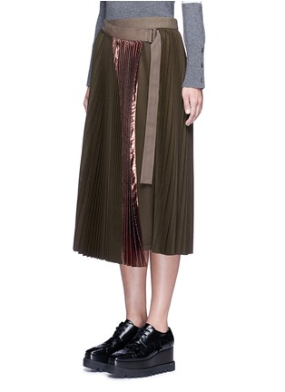 Front View - Click To Enlarge - Sacai - Lamé pleated flannel wrap midi skirt