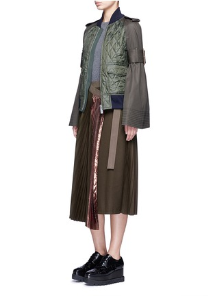 Figure View - Click To Enlarge - Sacai - Lamé pleated flannel wrap midi skirt