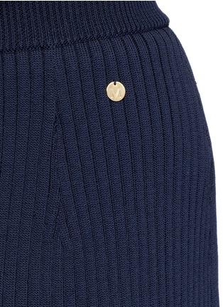 Detail View - Click To Enlarge - MUVEIL - Stripe hem back split knit pencil skirt