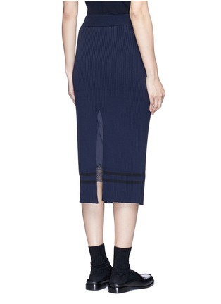 Back View - Click To Enlarge - MUVEIL - Stripe hem back split knit pencil skirt