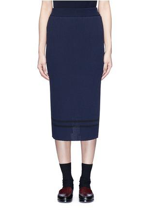 Main View - Click To Enlarge - Muveil - Stripe hem back split knit pencil skirt