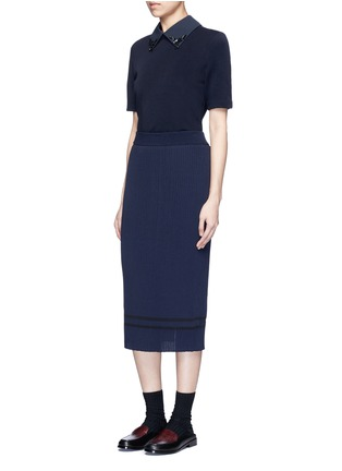 Figure View - Click To Enlarge - MUVEIL - Stripe hem back split knit pencil skirt