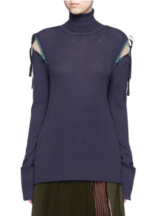 Main View - Click To Enlarge - Muveil - Crepe insert ribbon tie turtleneck knit