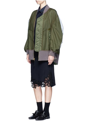 Figure View - Click To Enlarge - Muveil - Reversible gathered sleeve mesh bomber jacket