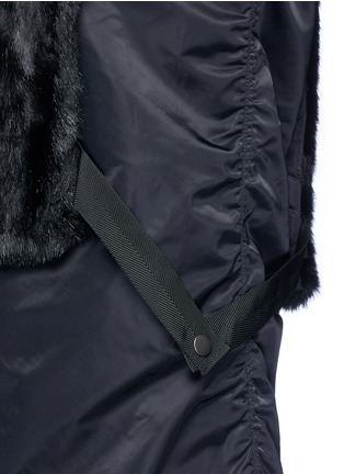 Detail View - Click To Enlarge - TOGA ARCHIVES - Mesh hem faux fur nylon dress