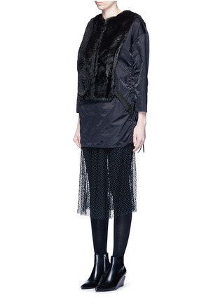 Front View - Click To Enlarge - TOGA ARCHIVES - Mesh hem faux fur nylon dress