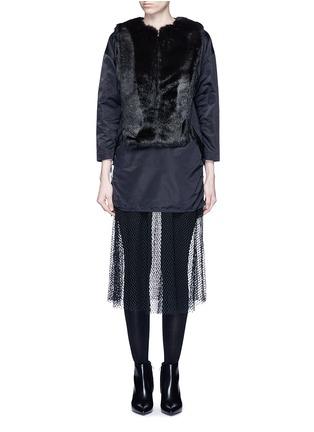 Main View - Click To Enlarge - TOGA ARCHIVES - Mesh hem faux fur nylon dress